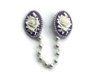 Purple and White Rose Sweater Clip - Lavender with White Pearls - Retro Rockabilly Pinup -Cardigan Clip - Sweater Guard - Sweater Clasp