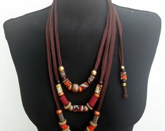Ethnic women summer new collection long textile necklace-soft fiber jewelry with recycle tshit fabric/wood/acrilic beads-brown-orange-beige