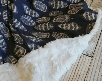 Baby Blanket - Minky Blanket - Boys Baby Blanket - Navy White Blanket - Tribal Baby Blanket -  Feather Crib Blanket - Baby Shower Gift