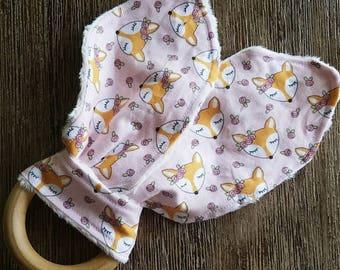 Bunny Ear Toy- Fox Baby Teething Toy - Wooden Teething Toy - Wood Teething Ring - Baby Shower Gift - Baby Stocking Stuffer - Teething Bunny