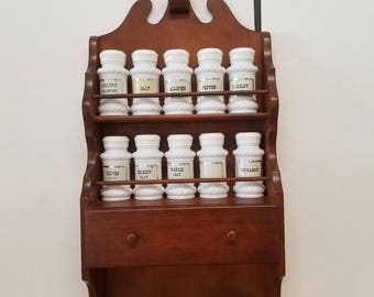 Vintage Wooden Spice Rack with Jars