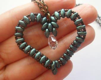 Beading Jewelry PDF Tutorial - Superduo Heart Pendant/ Charm (PD008) - Beaded Pendant Tutorial Pattern (Digital Download)
