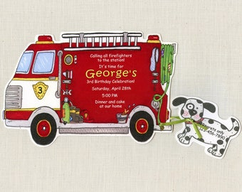 24 Fire Truck | Boy Birthday Party Invitations | Firefighter | Fireman Birthday Party | 5x7 Invitation | Personalized | Red Truck | Printed
