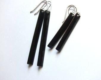 Black enamel bar earrings Modern minimalist jewelry Long linear dangles Everyday lightweight stick drops