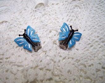 Vintage Teal Blue Enamel Butterfly Clip on Earrings Set Jewelry 60s VTG Butterflies