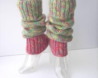 Hand Knit Thick SEAMLESS Leg warmers 100% WOOL & Rainbow Mohair / Wearable Fiber Art / Dance Yoga leg warmers