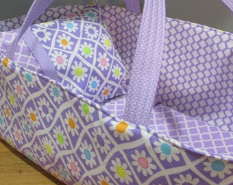 Doll Carrier, Will Fit Bitty Baby and Wellie Wisher Dolls, Daisies with Lavender Lining, 16 Inches Long, Doll Basket