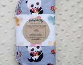 Cotton flannel baby wipes or wash cloths with Panda with flowers, double layer, set of 6.