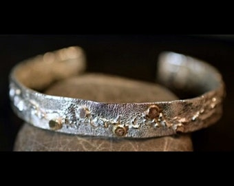 Shimmer cuff. Sterling and 18k gold reticulated bracelet
