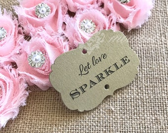 Gold Sparkler Tags -Silver Sparkler Tags - Ornate Sparkler Tags - Vintage Glam Sparkler Tags - Let Love Sparkle - Sparkler Send off