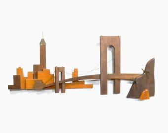 Mid Century Modern Wooden Manhattan & Brooklyn Bridge Skyline Sculpture by Masketeers, Inc. 1961