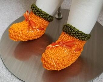 Pumpkin Baby Booties - Cotton