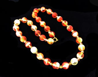 """Satin Glass Beaded Necklace - Rustic Orange and Soft White Art Glass Beads - 17"""" Choker Length - Vintage 1940's 1950's Art Deco Jewelry"""
