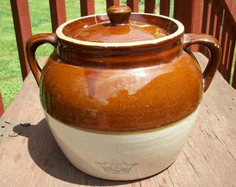Vintage Beautiful Stoneware Ransbottom Robinson Pottery 2 Handle Bean Pot Crock with Lid