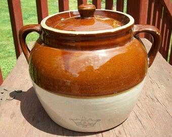 Vintage Beautiful Stoneware Ransbottom Robinson Pottery 2 Handle Bean Pot Crock with Lid