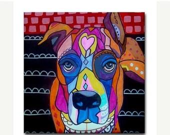 45% Off Today- Boxer Art Tile Boxer Dog GIFT Pink Black White Ceramic Tile