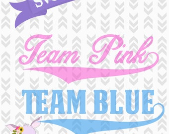 Team Pink Team Blue Gender Reveal SVG Cut Files - Baseball Gender Reveal Files - DXF, PNG, Svg, Cut Craft Files, Team Blue Team Pink Party