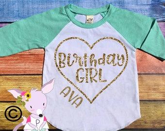 Gold Birthday Shirt Raglan Glitter Mint Pink Gold Glitter Raglan Heart with Name Custom Birthday Shirt Girls Glitter Raglan Birthday Shirt