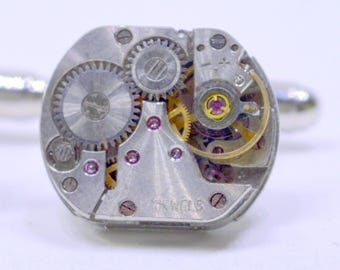 Rectangular Cufflinks lovely set of watch movement cufflinks , ideal gift for a wedding, anniversary or birthday 82
