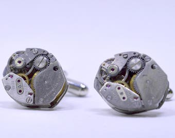 Oval Steampunk Watch Movement Cufflinks ideal gift for a birthday, wedding, anniversary or  christmas 86