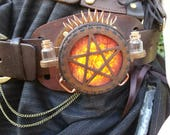 Steampunk Lamp, Unique Accessories, Valentine Present, Pagan, Wicca, Witch, Geek Gift,  Hand tooled Brown Leather, Wood, Wearable Belt Lamp,