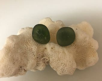 Authentic Sea Glass Post Earrings in Olive
