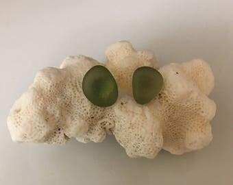 Post Earrings Olive Sea Glass