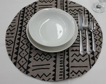 African Mudcloth Inspired, grey and black  Printed burlap, 16-inch Round Circle Placemat, Table Centerpiece Handmade Artisan