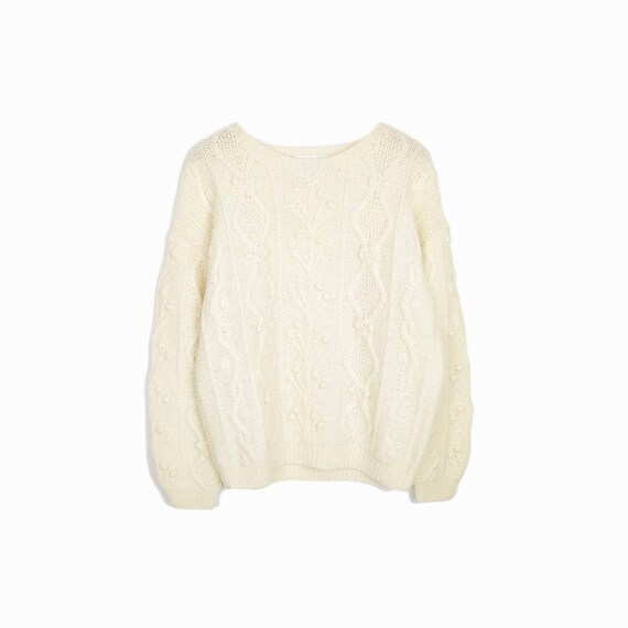 Vintage Scottish Wool Sweater in Ivory Cream / Cable Knit Sweater / Fisherman Sweater - women's medium