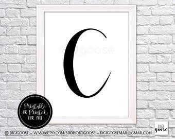 CLEARANCE!! C MONOGRAM print // nursery decor // girls poster, monogram for girl, glamour letter, letter wall art, letter C art, C wall art