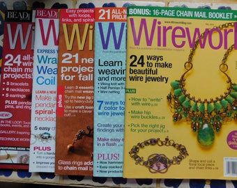5 issues Wirework Jewelry Magazine Collection Wire Wrapping Magazines Tutorials Wire Wrap 5 Issues work instructions 2011 2012 2014 two 2015