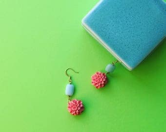 Coral and Teal Amazonite Retro Floral Dangle Earrings