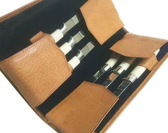 Mid Century Federal Steak Knife Set - Faux Ivory Handles with Leather Case