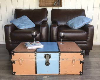 "1920s-30s Steamer Trunk, Foot Locker with Tray, Two-tone Brown & Blue  ""Great for Coffee Table, Storage, Decorating"""