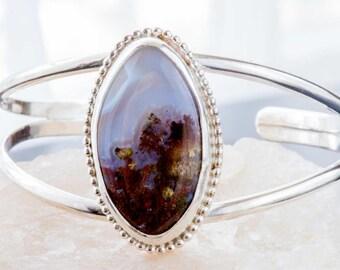 Moss Agate Bracelet in Sterling Silver Bracelet Cuff, Handmade