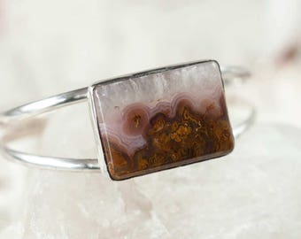 Agate Cuff Bracelet in Sterling Silver Handmade