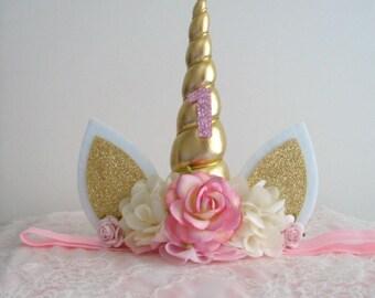 1st Birthday Unicorn Headband - Pink - Ivory - Cream - Gold - Pink Flowers - Number 1 - Second - First Birthday Unicorn Headband - Baby