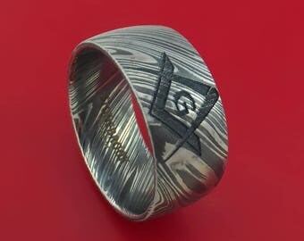 Kuro Damascus Steel Masonic Emblem Ring Custom Made Band