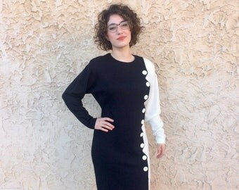 Fabulous vintage 1980s black and white ButtonDress Size medium
