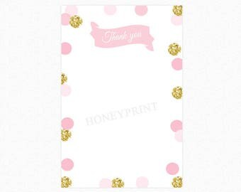 Pink and Gold Thank You Card, Personalized, Printable and Printed