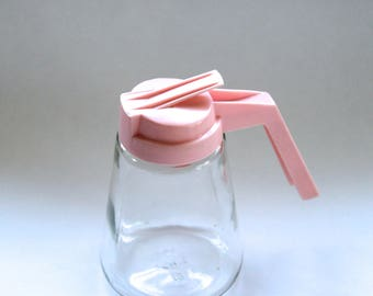Vintage 1950's Mid Century Syrup/Dressing Pourer Bottle with Pink Top!