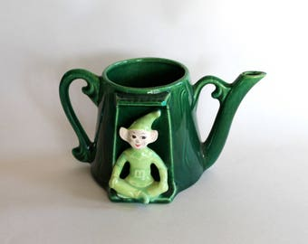 Vintage 1950's Ceramic Green Pixie/Christmas Elf Decorative Tea Pot Planter!