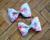 Starfish mini bow, Girls Coral Aqua and Mint Starfish Hair Bow, Hair Bow, Beach Hair Bow, Girl's Hair Bow, Pinwheel Hair Bow, Hair Bow