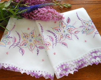 Vintage Hand Embroidered Cotton Pillowcases
