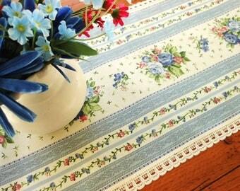 Vintage Blue And Pink Floral Table Runner Or Dresser Scarf