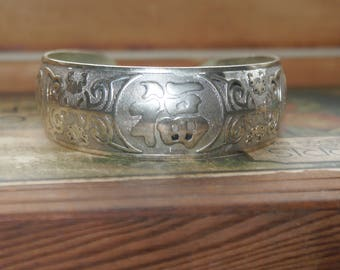 Authentic Vintage Miao Silver Chinese Cuff Bracelet