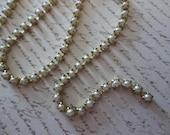 2mm White Pearl Cup Chain - Brass Setting - Preciosa Glass Pearl Rhinestone Chain