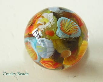 Handmade Lampwork Focal bead - 'Orange & Blue floral!' - Creeky Beads SRA