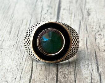Green Jade Chevalier Ring, Men Sterling Silver Ring, Green Stone Statement Ring, Natural Jade Jewelry, Unisex Gemstone  Ring