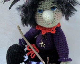 Summer Sale Crochet Pattern Witch by Teri Crews Wool and Whims Instant Download PDF format Crochet Toy Pattern